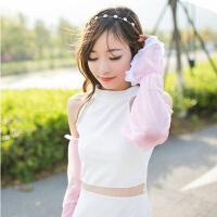 夏季雪纺蕾丝素色防晒袖套手套 简约长款遮阳防紫外线