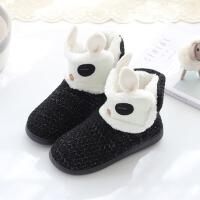 秋冬季棉拖鞋女式厚底韩版可爱卡通家居靴室内加绒保暖毛拖鞋防滑 黑色