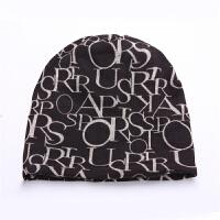 帽子女士冬天字母套头帽韩版潮秋冬季时尚护耳帽包头帽围脖两用帽 均码弹性好