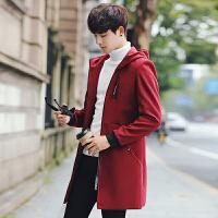 风衣男外套 秋冬韩版修身毛呢大衣青年连帽潮流帅气学生上衣