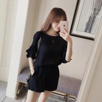 2018夏装新款韩版时尚短裤两件套夏季潮名媛小香风雪纺阔腿套装女