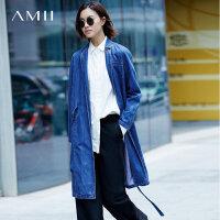 Amii[极简主义]纯棉牛仔风衣女2017秋装新翻领长袖腰带宽松长外套
