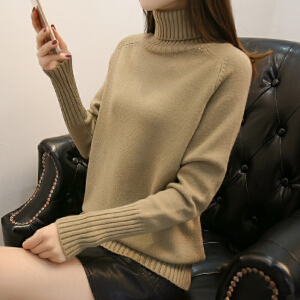 高领毛衣女加厚秋冬新款2018韩版宽松短款时尚百搭套头针织打底衫