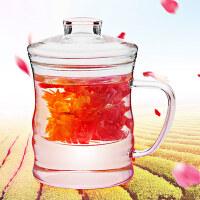 富光创意玻璃水杯子便携茶水分离泡茶杯男女士家用带盖柠檬花茶杯