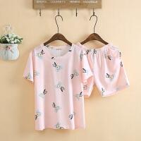 睡衣女夏季卡通可爱兔子少女学生全棉短袖短裤睡衣家居服套装