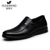 富贵鸟皮鞋商务休闲鞋男士套脚牛皮鞋子 A709012黑色 42