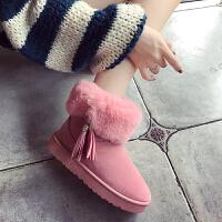 2017年秋冬新款欧美女棉靴保暖雪地靴流苏短筒靴女鞋子