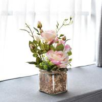 欧式仿真花客厅摆设假花绿色植物盆栽套装玻璃花瓶小石子餐桌摆件