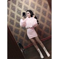 秋冬季裙子2018新款女韩版修身收腰显瘦加绒加厚包臀长袖连衣裙潮 粉红色