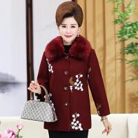 中老年女装秋装外套中年妈妈装毛领刺绣毛呢外套40-50岁大码上衣