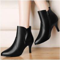 古奇天伦百搭及踝靴子女冬鞋高跟马丁靴新款尖头短靴细跟裸靴