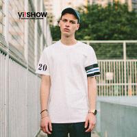 VIISHOW夏装新品圆领套头短袖T恤不对称印花纯棉男士短T潮
