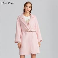 Five Plus2019新款女春装双面呢大衣女中长款毛呢外套潮宽松chic