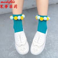 茉蒂菲莉 儿童袜 女童新款秋冬创意整圈球球中筒袜女孩小中童宝宝时尚袜子(6双装)