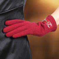 时尚女士手套触屏保暖手套女士双层开车骑行加绒加厚棉布手套 可礼品卡支付