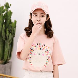 纯棉T恤衬衫上衣女2018夏季新款韩版百搭时尚卡通T恤衫短袖上衣打底衫