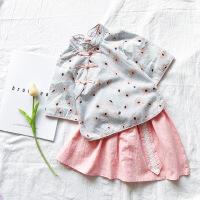 2018夏款女童中国风汉服女童短袖花朵旗袍上衣+百褶半身裙两件套