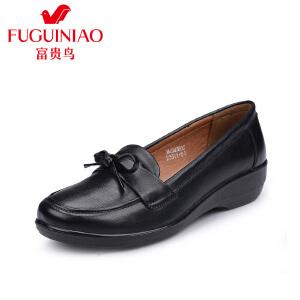 富贵鸟休闲妈妈鞋 皮鞋女单鞋 防滑软底老人鞋