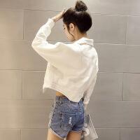 韩版白色牛仔外套女短款春秋装新款bf宽松显瘦小夹克潮百搭牛仔衣 白色
