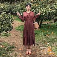 红色复古连衣裙2019秋季新款收腰显瘦气质波点裙子韩版学生中长裙