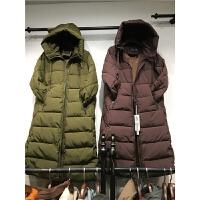 L7韩版羽绒女 冬外套棉袄过膝面包服亮片印花棉衣女中长款1.1