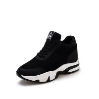 2018春季新款内增高女鞋休闲运动鞋透气韩版百搭坡跟厚底跑步单鞋