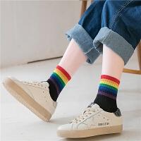 彩色彩虹袜子女中筒袜条纹长袜子潮流街头糖果色秋冬季男