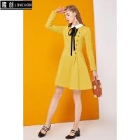 polo领连衣裙秋装新款女装韩版长袖显瘦小香风黄色秋冬打底裙 黄色