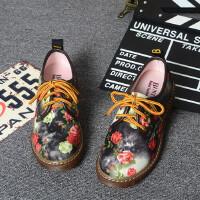 春秋英伦风平跟圆头单鞋时尚碎花帆布鞋平底鞋踝靴马丁靴新款女鞋