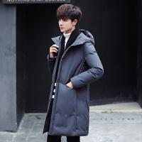 日系长款棉衣男士加厚保暖外套韩版修身连帽棉袄冬季防风潮牌 深灰色 M