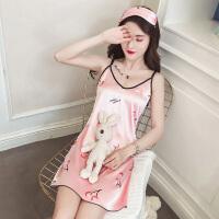 睡衣女夏季韩版学生短袖冰丝吊带睡裙真丝家居服