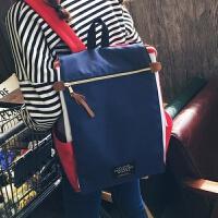 帆布双肩包女韩版学院风包包新款背包女休闲女包中学生书包旅行包 蓝色