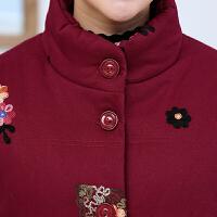 中老年女装棉衣短款4050中年女士棉袄冬装妈妈装加厚绣花外套lm 红色 XL