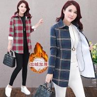 洋气衬衫女装2018秋冬新款加绒中长款格子长袖大码保暖寸衫外套潮