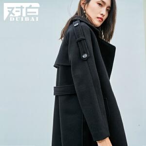 对白斜门襟系带毛呢大衣女秋冬时尚简约中长款呢子外套