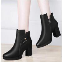 古奇天伦新款短靴粗跟马丁靴英伦风女鞋秋冬季百搭高跟女靴子