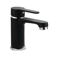 贝乐卫浴BALLEE 1808K精铜烤漆黑色卫浴水龙头单孔面盆龙头冷热水
