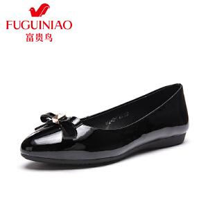 富贵鸟 年春季新品 时尚灵动蝴蝶结尖头套脚女士单鞋女婚鞋女鞋子