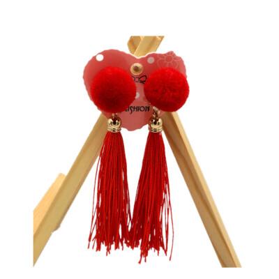 儿童耳坠夹无耳洞公主宝宝假耳钉小孩卡通耳夹耳环 乳白色 红毛球流苏