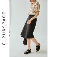 云上生活女装2019夏新款气质半裙中长款黑色半身裙女Q3094