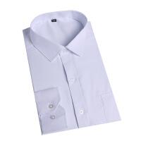 2018白衬衫男长袖翻领商务男装修身衬衣公司制服工作服装 白色