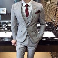 时尚条纹西服套装男韩版新郎结婚西装马甲裤子三件套青年帅气潮装