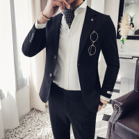 秋冬男士加厚修身夜店少爷纯色西转套装绅士小版个性两件套西服