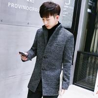 新款韩版修身呢子大衣男中长款青年毛呢大衣外套英伦风衣