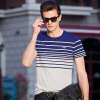 伯克龙 短袖T恤男士条纹纯棉2018新款 夏季男装弹力修身休闲t恤 A86018