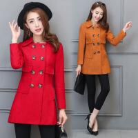双排扣韩版优雅修身显瘦毛呢外套 秋季时尚新款呢大衣秋装女