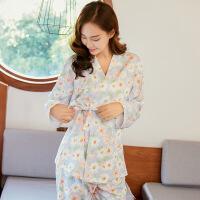 纯棉长袖睡衣女士日系甜美可爱韩版清新宽松和服套装家居服XC hym#9807