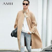 Amii极简韩版时尚羊毛毛呢外套女2018冬季新拉链拼接黑色束带大衣