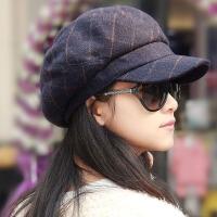 帽子女秋冬韩版潮贝雷帽时尚英伦毛呢八角帽冬天鸭舌帽 M(56-58cm)