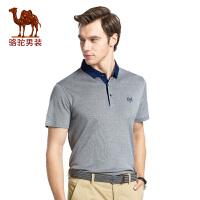 骆驼男装 夏季新款翻领纯色绣标商务休闲男青年短袖T恤衫